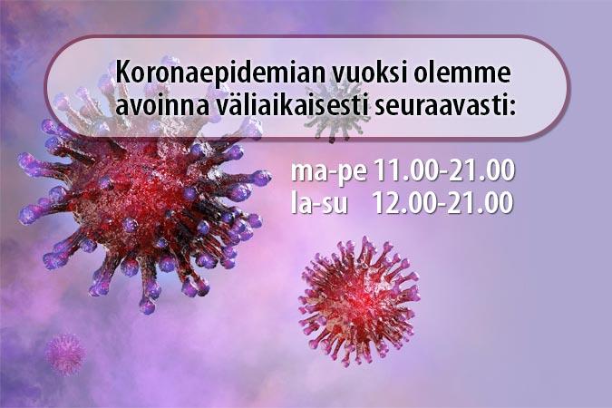 Koronaviruksen aukioloajat